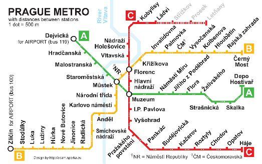 Иной вариант карты метро Праги
