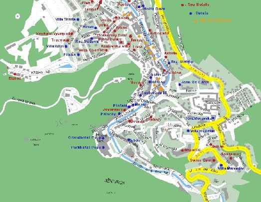 Расположение минеральных источников города на карте