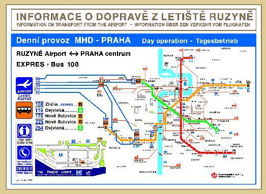 Схема дневного проезда из аэропорта Праги до станции метро