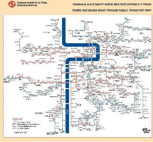 Карта ночных маршрутов трамваем и автобусов в Праге