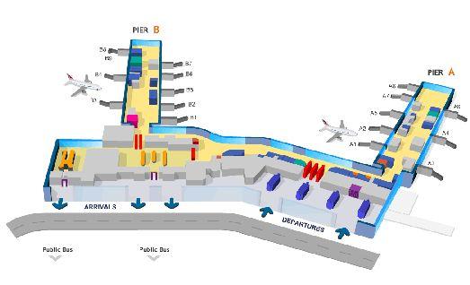 Большая схема Терминала 1 аэропорта Праги