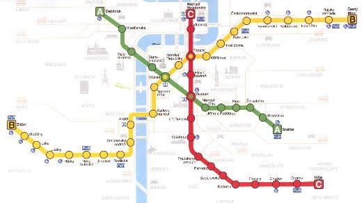 Карта центральных станций метро Праги