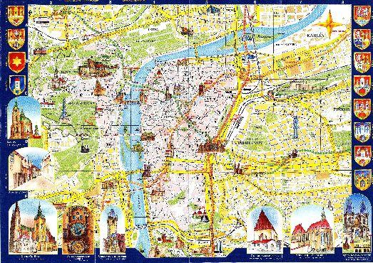Большая туристическая карта Праги