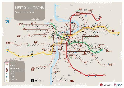 Карта трамвайных линий и линий метро в Праге